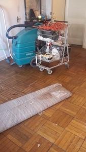 Shopping cart and shop vac.